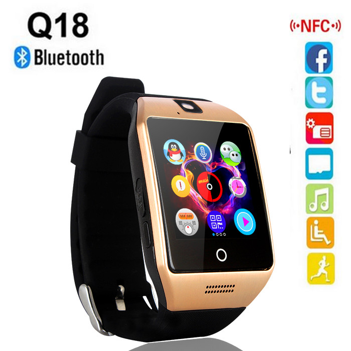 2016 new NFC Bluetooth Smart Watch Q18 With Camera facebook Sync SMS MP3 Smartwatch Support Sim TF Card For IOS Android Phone(China (Mainland))