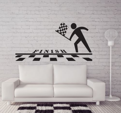 Finish Line Checkered Flag Pole Position Vinyl Wall Sticker Home Decor Sport wall decal Wall Mural Wall Art(China (Mainland))