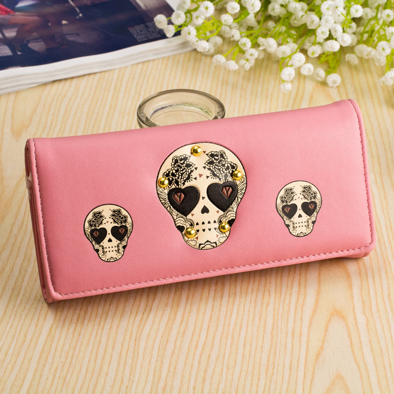 Hot Sale Women's Purse 6 Colors Soft Skull Candy Color Women's Wallet Women Purses Coin Purse Credit Card Hold(China (Mainland))