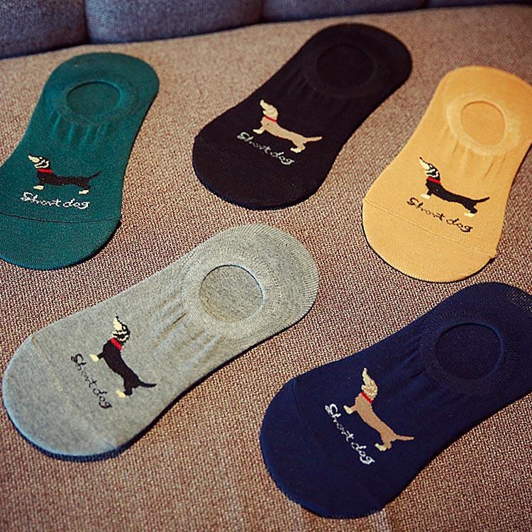 Free shipping men socks 5 pairs= 1 lot men's sports socks dogs invisible men fashion cotton socks(China (Mainland))
