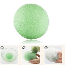 Free Shipping Natural Konjac Konnyaku Facial Puff Face Wash Cleansing Sponge Green  GUB#