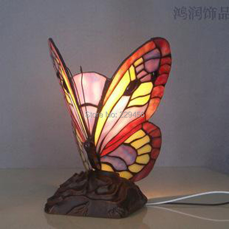 butterfly shape stained glass tiffany table lamp living room bedside. Black Bedroom Furniture Sets. Home Design Ideas
