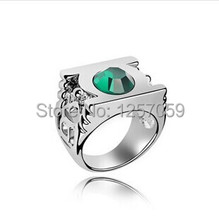 [Free Shipping For 1 Pcs]Fashion Jewelry Silver Charm Green Lantern Ring For Men And Women,original factory supply(China (Mainland))