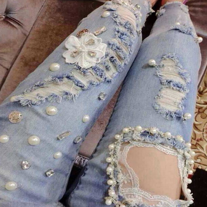 Luxury girls handmade beading flower ripped lace sexy new women jeans woman spring summer denim pencil pants skinny jeans NZ03Одежда и ак�е��уары<br><br><br>Aliexpress
