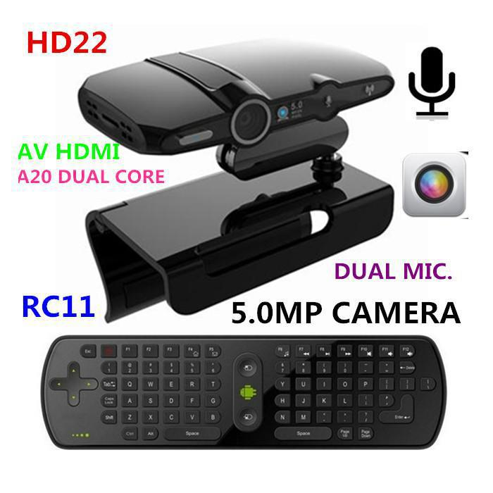 New! 5.0MP and Mic Android TV camera HDMI 1080P 1GB/8GB android 4.2 skype Google Android TV box HD22 + Measy RC11 Air Mouse(China (Mainland))