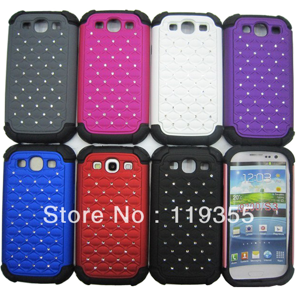 Free shipping Luxury Rugged Rubber Bling Matte Hard Case Cover For Samsung Galaxy i9300 S3