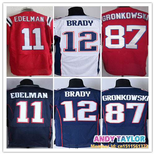 Free Shipping Cheap Elite New England Jersey #11 Julian Edelman #12 Tom Brady #87 Rob Gronkowski American Football Men Jerseys(China (Mainland))