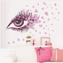 Buy Flower Fairy charm beautiful Women Eye butterfly LOVE heart home decal wall sticker girls bedroom dress room diy sofa wall art & for $1.70 in AliExpress store