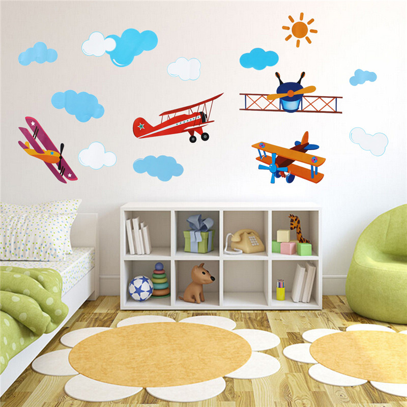 Lowest Price DIY PVC Cute Four Air Planes Multicolor Room Decal Home Decor Kids Bedroom Decoration Art Wall Sticker(China (Mainland))