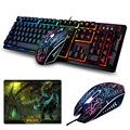 K 13 Wired Rainbow Backlit illuminated Usb Multimedia Ergonomic Gaming Keyboard 2400DPI Optical Gaming Mouse For