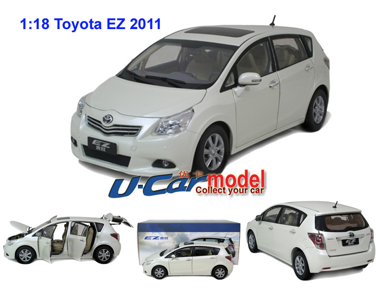 1pc/lot 1:18 China Toyota E'Z 2011 die-cast car model White color on sales(China (Mainland))