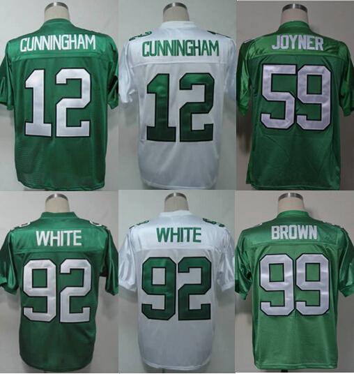 Top quality Philadelphia Eagles,12# Randall Cunningham #92 WHITE throwback green white,100% stitched logo(China (Mainland))