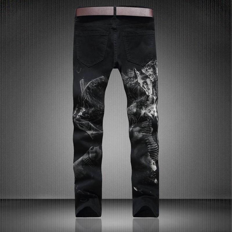 Mens Clothes Cotton Black Jeans Hole Denim Pants Slim Fit Pleated Motorcycle Joggers Male Brand Designer Cargo Jean Big Trousers