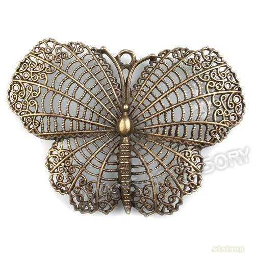 New Arrival 15pcs Vintage Hollowed Butterfly Jewelry Findings Charms Zinc Alloy Pendant Fit  Necklace Making 68*47*3mm142252(China (Mainland))