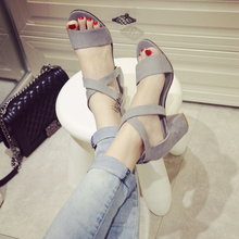 2016 summer fashion square heel sandals black medium heel women pumps summer shoes