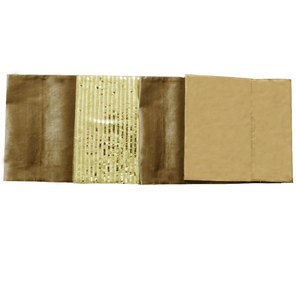 Free Shipping Sparkle Sequin Bling Bling Velvet Patchwork Gold Table Runner P4532(China (Mainland))