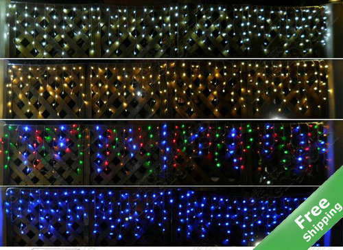 200Leds solar curtain icicle lights+Multicolor/White/Blue/Warm white for option+100% Solar powered+Rainproof+Free shipping(China (Mainland))