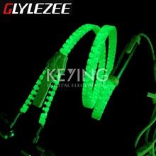 Glylezee Luminous Zipper Headset Earphone Mini Glow Zipper Headphone with Microphone 3.5MM Port for MP3 Cellphone