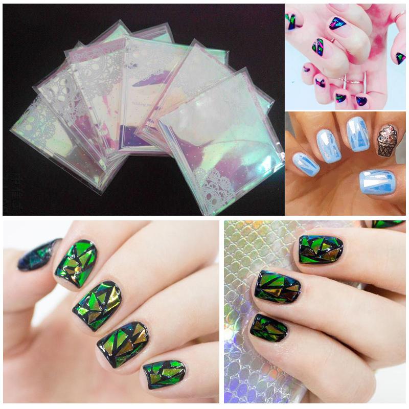 Гаджет  2015 new popular broken glass mirror foil nail sticker nail art sticker None Красота и здоровье