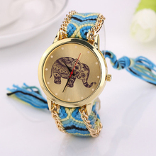 New Design Women Elephant Pattern Weaved Rope Band Quartz Dial Watch lady dress watch free shipping!