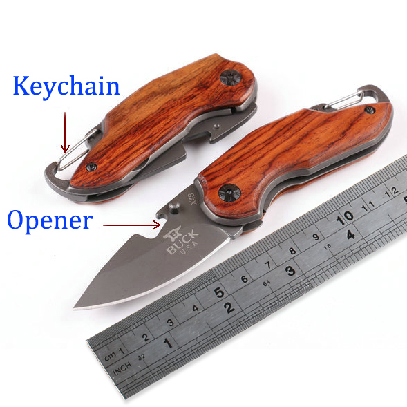 Гаджет  Keychain Opener Buck X48 Key Knife Folding Camping Knife with Steel & wood Handle titanium Pocket Small Knives Multi EDC Tools None Инструменты