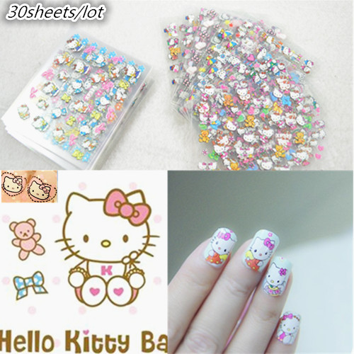 30 sheets New 2015 High Quality 3D Design Cat Nail Art Stickers Decals Fashion Cute Mixed Styles Nail Art Decoration Tools(China (Mainland))