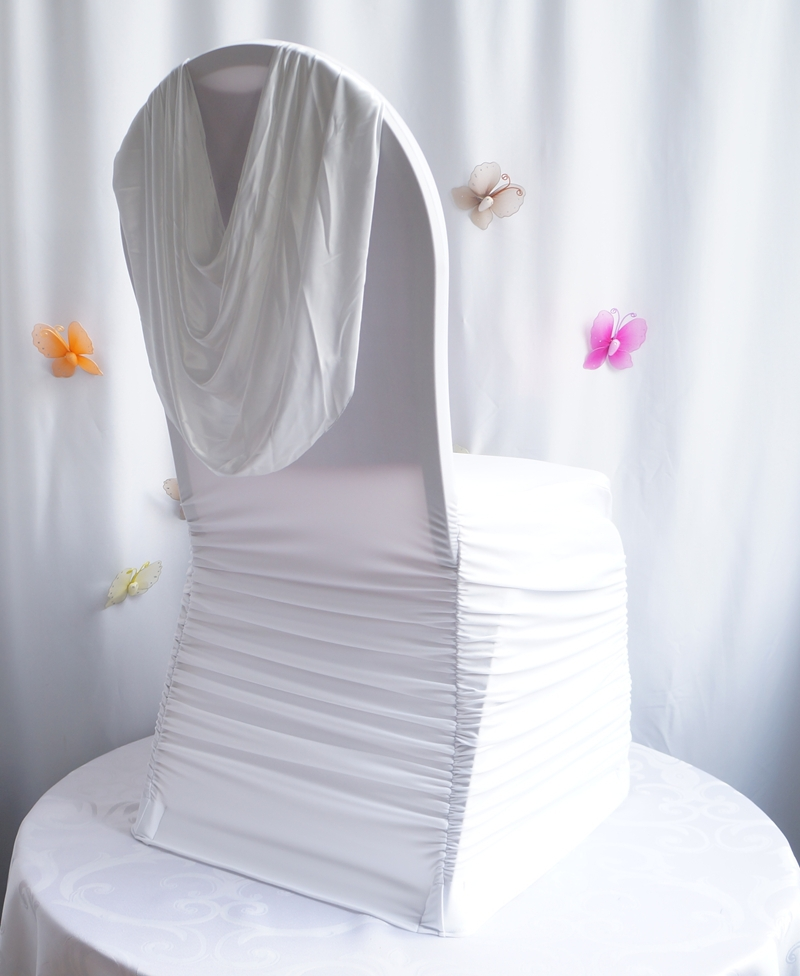 wholesale white lycra ruffled chair cover with valance(China (Mainland))