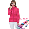 Ultra Light Down Jacket Women 12 Candy Colors Stand Collar Solid Parka Winter Jacket Campera De