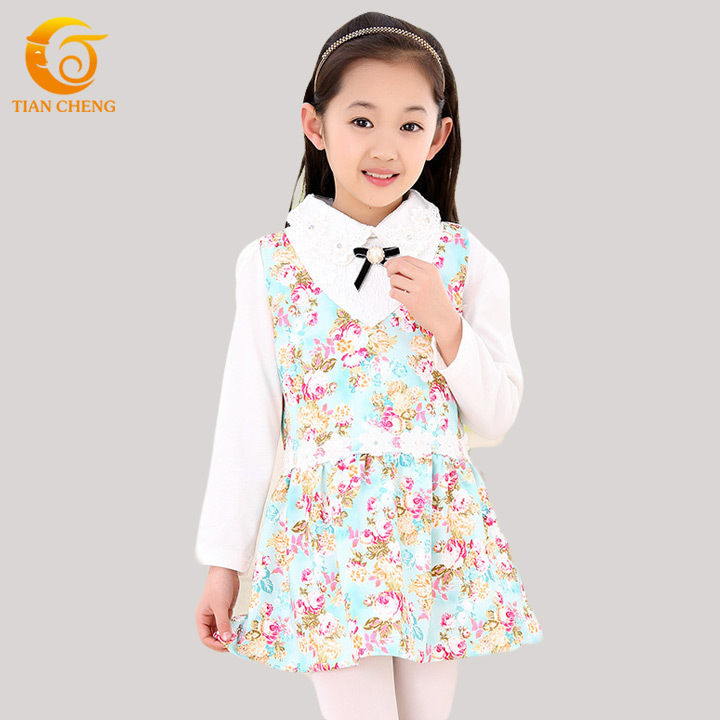 Retail Long Sleeve Teenage Girls Fashion Dresses Floral Pearls Kids Clothes Girls Robe Fille Enfant Vestido De Festa Infantil(China (Mainland))