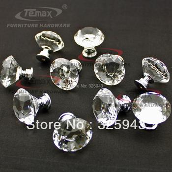 New 10pcs/lot 30mm Zinc Alloy Clear Crystal Sparkle Glass Kitchen Cabinet Knobs Handles Dresser Cupboard Door Knob Pulls
