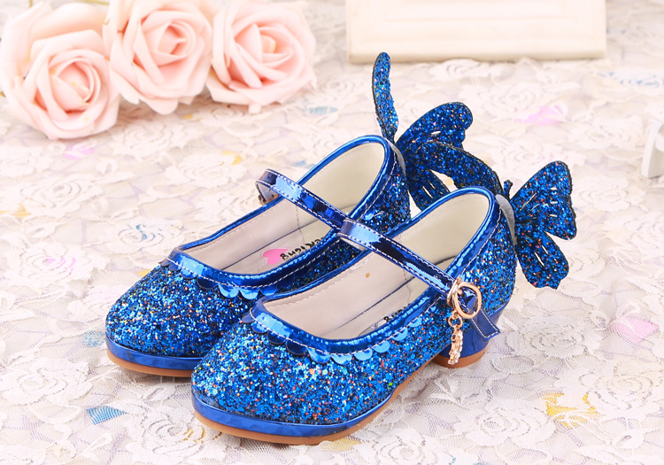 2016 latest fall girls shoes new Cinderella Butterfly style princess leather shoes High-heeled sequins shoes free shipping