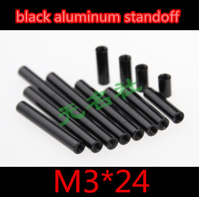 20pcs/ lot M3*24  Double Pass  Thread Female To Female Round Black Aluminum Standoff Spacer Nut thread pitch 0.5mm<br><br>Aliexpress