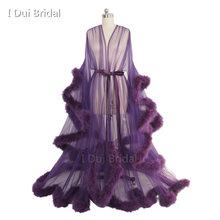 כלה ודואר חלוק ורוד נוצת כלה Sheer Robe טול אשליה ארוך יום הולדת נוצת Robe תלבושות רווקות מסיבת שמלה(China)