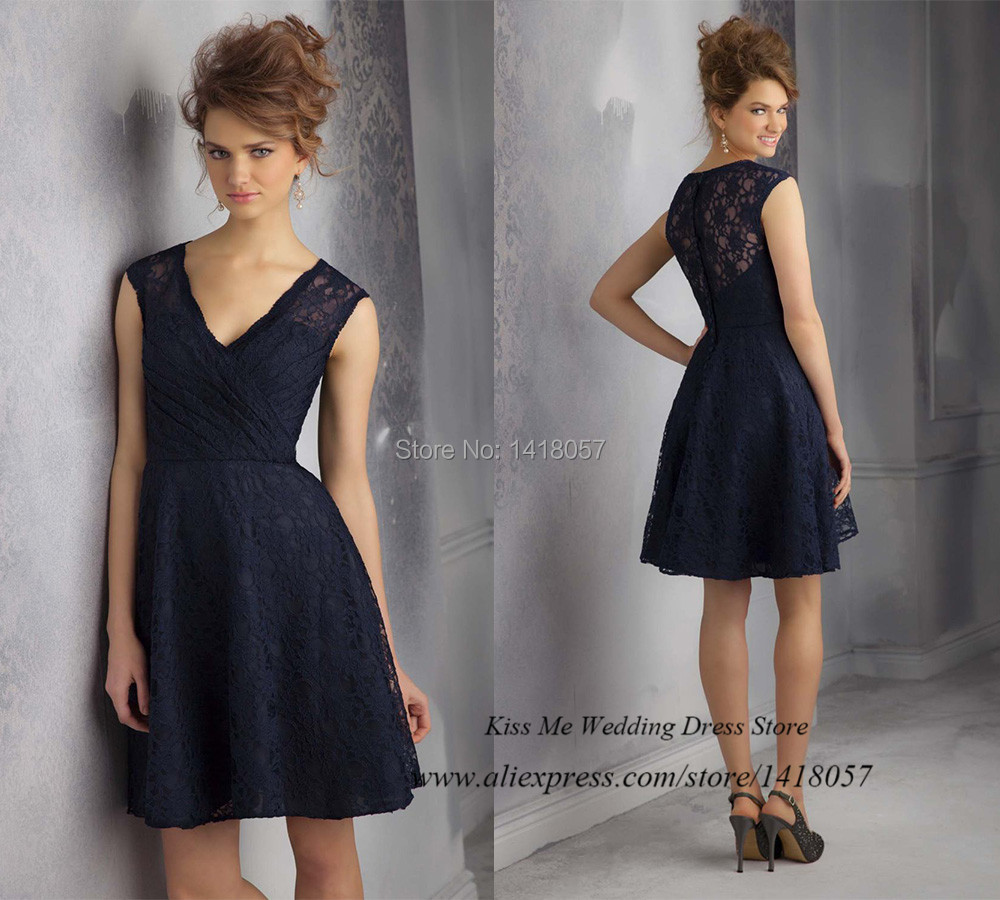 Modest best sell navy blue lace bridesmaid dress 2015 v for Wedding guest lace dresses