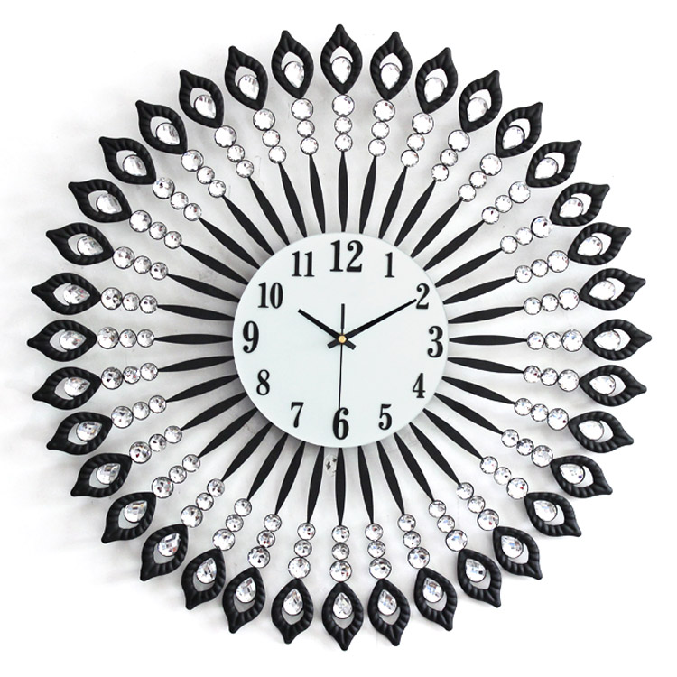 Iron diamond Large modern personality living room decoration wall clock fashion silent watch - Haley zhu's store