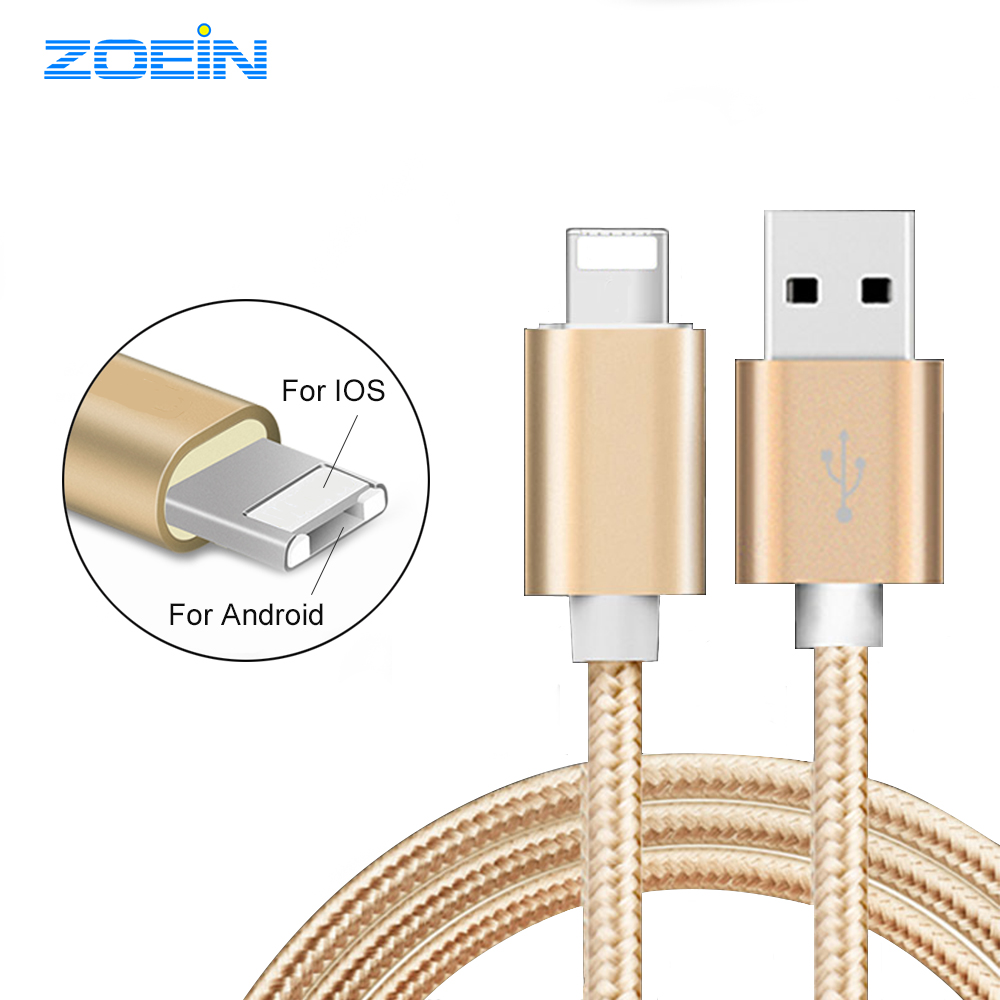2 in 1 Double Side Universal 8Pin Micro USB Cable Data Charging USB Cable for iPhone 5 6 6s plus 5s Charger Cable For Samsung(China (Mainland))