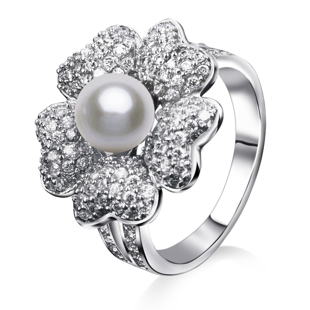 2016 Rings Ring New Freeshipping Fashion Young Princess Wings Jewelry simulated pearl Top Quality Real Rhodium Plating Gift(China (Mainland))