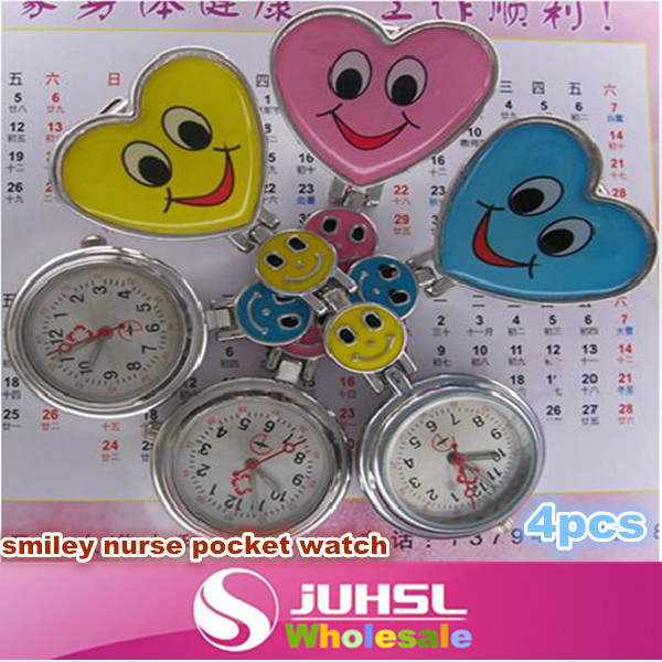 The new heart-shaped smiley nurse watch, medical doctors pocket watch, nurse watch exam, students decorative pocket watch, * 4(China (Mainland))