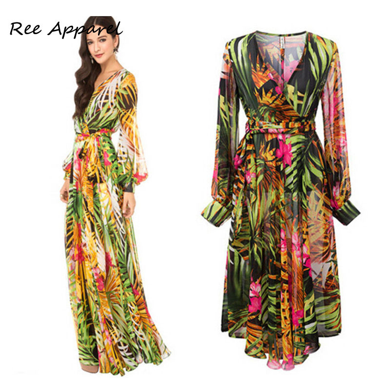 Bohemian Long Sleeve Floral Print Chiffon Maxi Dress Women ...