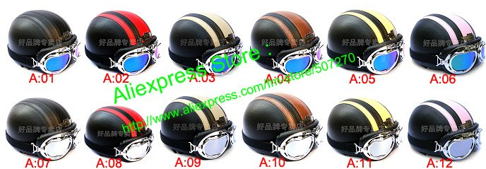 Leather Half Bol Motorbike Scooter Casco Cycling Face Motorcycle street Black Helmet & UV Goggles SIZE M , L XL - Chinese Products Co.,Ltd store