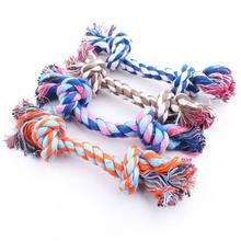 New hot sell Puppy Dog Pet Toy Cotton Braided Bone Rope Double knot cotton rope trumpet Chew Knot New(China (Mainland))