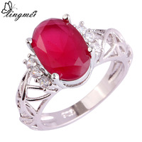 lingmei Wholesale Wedding Jewelry Ruby & White Topaz  Silver Ring Size 6 7 8 9 10 11 Women Fashion Party Rings Free Shipping