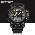 Black SANDA Original Brand Digital Analog LED Calender Shockproof Waterproof Outdoor Student Men Boy Wristwatches OP001