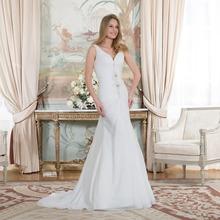 Buy Elegant Mermaid Wedding Dresses Long 2016 V Neck Vestido De Novia Backless Lace Beading Pleat Chiffon Vintange Bridal Gowns for $165.00 in AliExpress store