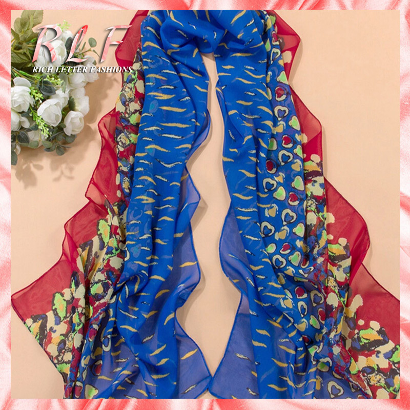 2014 Leopard Print Colorful Peach Hearts Fashion All-match Summer Sunshade Sunscreen Silk Voile Scarves Long Size Sweet Shawl(China (Mainland))