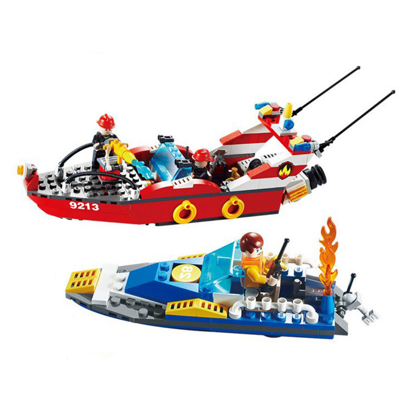 Fire Boat Model Building Kits Ship Educational Toys Fire Rescue Series Fireman Figures Model Gift DIY Assembly Blocks(China (Mainland))