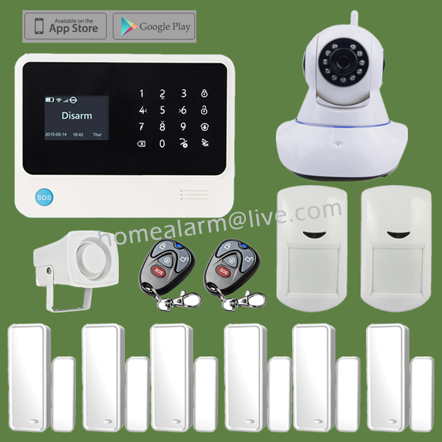 WiFi GSM Alarm Systems Home House Security Alarme System APP Control + WIFI IP Camera 720P APP Integrated In Alarm App<br><br>Aliexpress