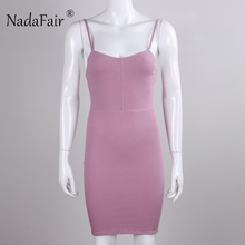 Nadafair 95% Cotton Knitted Spaghetti Strap Backless Mini Skinny Sexy Bodycon Women Casual Basic Dress(China)