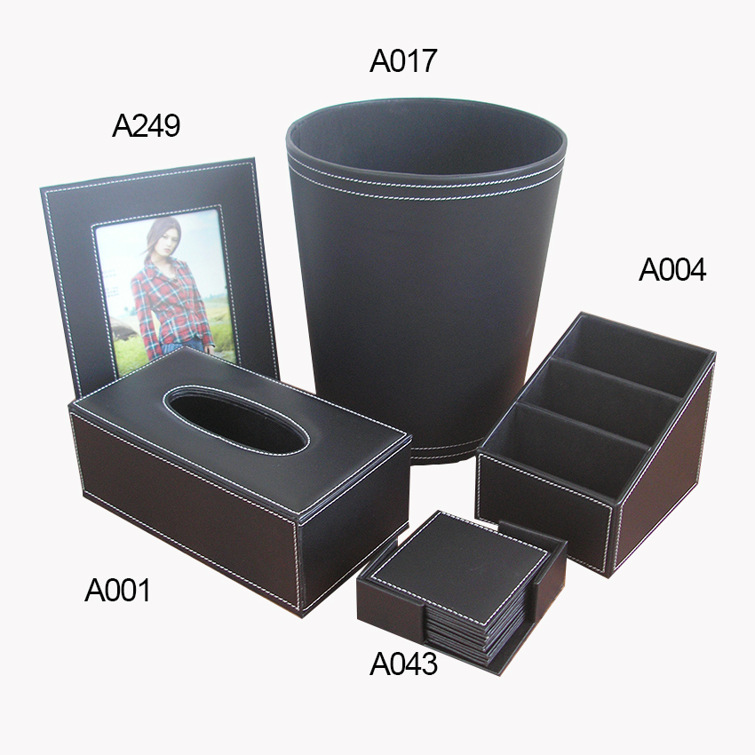 Здесь можно купить  black 5PCS/set leather home office remote controller storage box bucket trash bin holder photo frame tissue box cup coaster T51  Дом и Сад