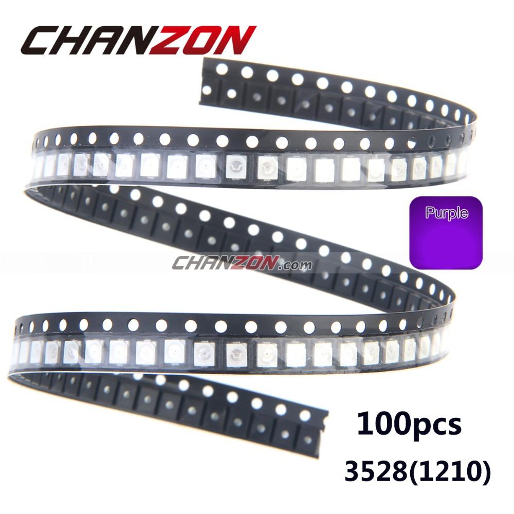 100pcs 3528 1210 UV Purple SMD LED Chip Ultraviolet 395nm - 400nm Light Emitting Diode Ultra Violet SMT LED Bead Lamp(China (Mainland))